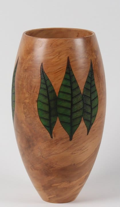 <h4>Merit </h4><h2>Graeme McIntyre.</h2><h5>Rimu Vase with Leaves</h5>