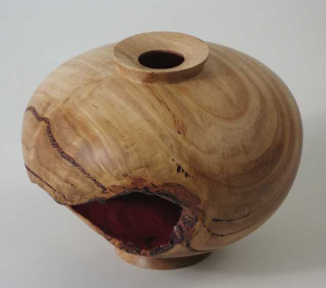 Hollow Form with Red Mouth